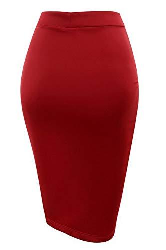 Jupe Fente Longue Au Crayon Red Solides Genou Femmes Vemubapis des Asymtrique Jupe La gwRBgq5A