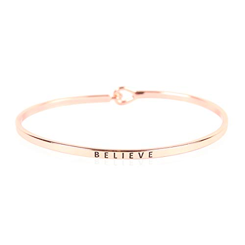 (RIAH FASHION Inspirational Bar Metallic Bangle - Simple Message Engraved Geometric Cuff Bracelets Christian Bible/Religious/Amazing Grace/Blessed/Faith/Love/Hope (Minimal Bar - Believe/Rose)