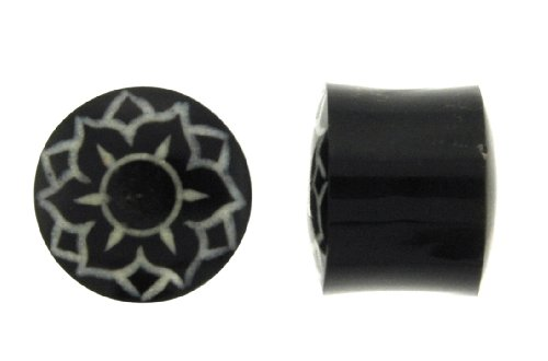 Bulan - Lotus Flower Design - Made out of Horn with Bone Inlay - 3/4 - Sold as a Pair