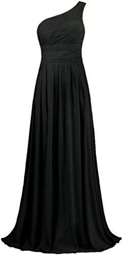 ANTS Women's Pleat Chiffon One Shoulder Bridesmaid Dresses Long Evening Gown Size 18W US Black