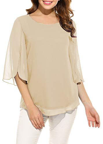 (Oyamiki Womens Half Sleeve Layered Flowy Chiffon Blouses Round Neck Top Shirts Cream)