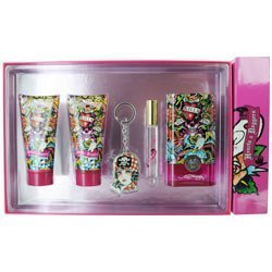 Christian Audigier Ed Hardy Hearts & Daggers Gift Set Eau de Parfum Spray 3.4 oz & Shimmering Body Lotion 3 oz & Shower Gel 3 oz & Eau de Parfum Rollerbal .34 oz Mini & Key Chain 5 pcs ()
