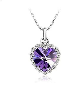 Stylish heart-shaped necklace of crystal - purple