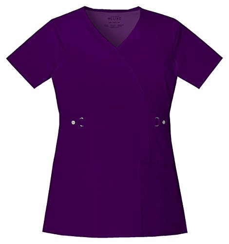 Cherokee Women's Luxe Junior Fit Mock Pocket Wrap Top_Eggplant_Small,21701 (Wrap Mock Luxe)