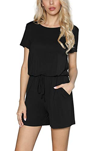 HiMONE Women's Summer Short Sleeve Rompers Casual Short Pants Jumpsuit with Pockets