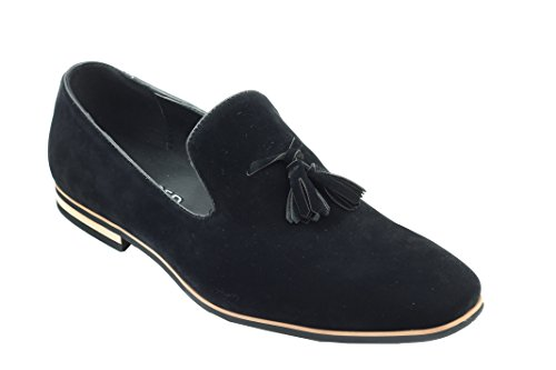 Smart nbsp;piel tamaño Loafers On Xposed nbsp;A 6 nbsp;– sintética conducción zapatos borla Casual negro Slip Suede diseño 12 de 6q0q5