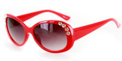 Chloe Designer Inspired Sunglasses with Stylish Crystal Patterned Frames and Medium Lenses for Stylish Women (Red w/ Smoke - Sale Sunglasses Chloe