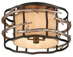 (Troy Lighting C2881 Adirondack - Four Light Semi-Flush Mount, Graphite/Silver Leaf Finish with Hardback Linen Shade)