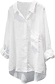 Minibee Women's Casual Cotton Linen Blouse Plus Size High Low Shirt Long Sleeve