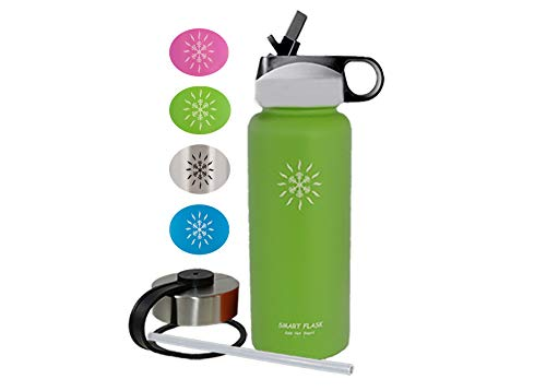 Smart Flask Stainless Steel Water Bottle, 18 Oz, Vacuum Insulated, Includes Leakproof Metal Lid, and Convenient Straw Cap. Fits Most Car Cup Holders. (Tahitian Lime)