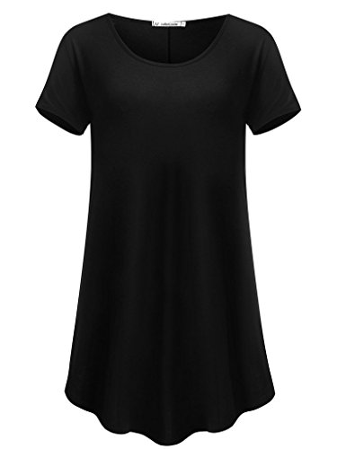 JollieLovin Women's Short Sleeve Loose Fit Flare Hem T Shirt