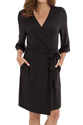 WiWi Women's Kimono Robe with Side Pockets Bamboo Lightweight Robe Short Knit Bathrobe Soft Sleepwear Ladies Loungewear, Black, X-Large