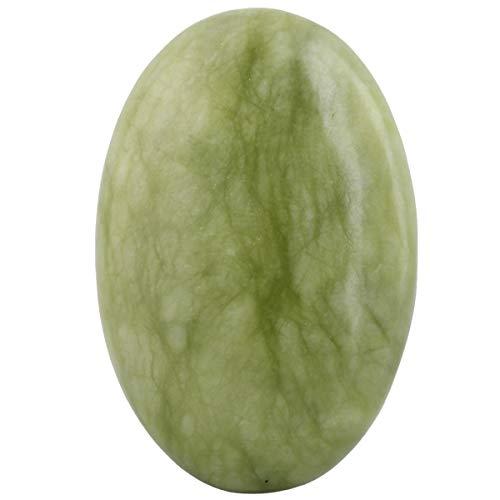 - mookaitedecor Green Jade Palm Stone Crystal Healing Gemstone Worry Therapy Oval Shape