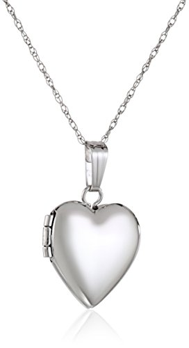 Children's 14k White Gold Heart Locket Necklace, 15'' by Amazon Collection