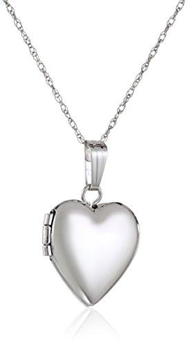 Children's 14k White Gold Heart Locket Necklace, 15