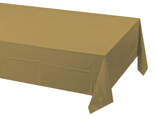 Creative Converting Touch of Color Plastic Table Cover, 54 by 108-Inch, Glittering Gold