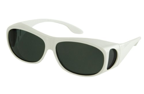 LensCovers Wear Over Sunglasses Size Medium White Frames with Smoke Lens - Fit Over ()