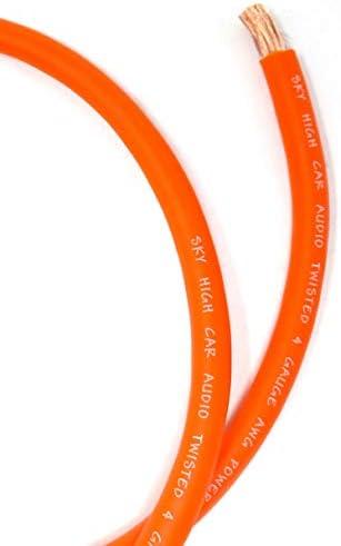 OFC 4ゲージ AWG オレンジパワーグラウンドワイヤー スカイハイ カーオーディオ The Foot ft販売