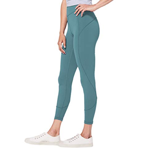 High Waist Yoga Pants Ladies Solid Color Hip Fitness Quick-Drying Running Tights Exercise Elastic Nine Pants MEEYA Mint -
