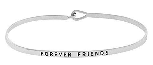 Glamour Girl Gifts Collection Forever Friends Thin Brass Bangle Hook Friendship Bracelet for Best Friends, BFF (Silver)