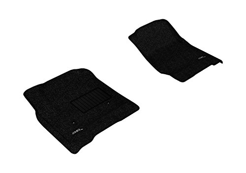 3D MAXpider Front Row Custom Fit All-Weather Floor Mat for Select Chevrolet Silverado /GMC Sierra Double Cab /Crew Cab /Chevrolet Suburban /Chevrolet Tahoe /GMC Yukon /GMC Yukon XL Models - Classic Carpet  (Black) Crew Cab Carpet