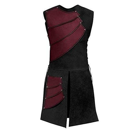 (Warrior Costume, Mens Halloween Costumes Renaissance Victorian Medieval Sleeveless Waistcoats Vests Soldier Cosplay (3XL,)