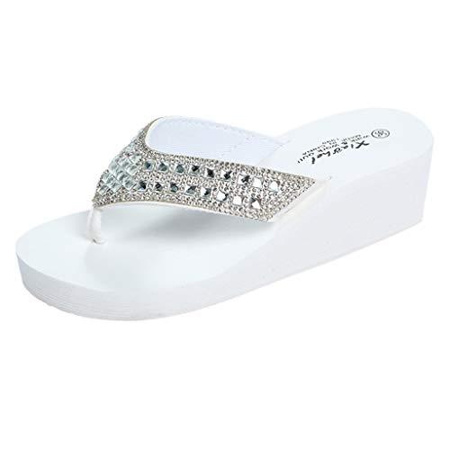 - HIRIRI Fashion Women Sandals Summer Slippers Rhinestones Wedges Flip Flops Womens Bling Sandals Casual Beach Shoes White
