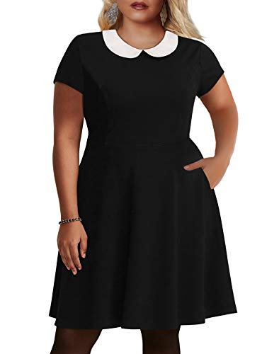 Nemidor Women\'s Peter Pan Collar Fit and Flare Plus Size Skater Party Dress