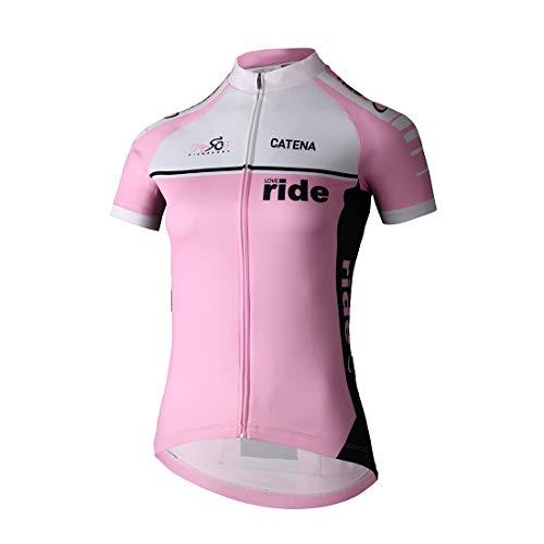 (CATENA Women's Cycling Jersey Short Sleeve Shirt Running Top Moisture Wicking Workout Sports T-Shirt Pink)