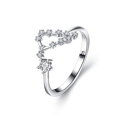 Deco Crystal Ring (BriLove 925 Sterling Silver CZ Statement Ring for Women -