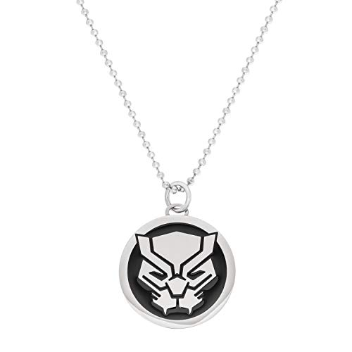 (Marvel Comics Black Panther Jewelry, Stainless Steel Pendant Necklace, 22