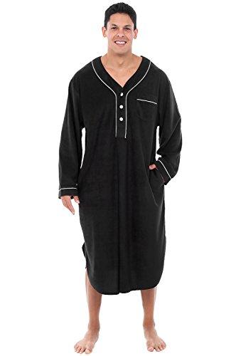 Alexander Del Rossa Mens Fleece Nightshirt, Long Warm Woven Kaftan, Medium Black (A0329BLKMD) (Mens Flannel Nightshirt)