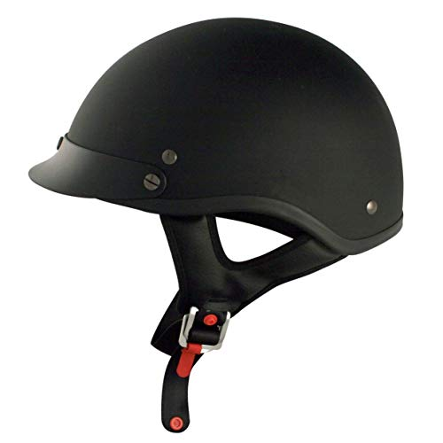 VCAN Cruiser Solid Flat Black Half Face Motorcycle Helmet (Small) (Motorcycle Helmet Flat Black)