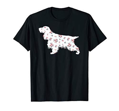 Mens Funny English Cocker Spaniel Shirt Cute Dog Flower Gift Mom