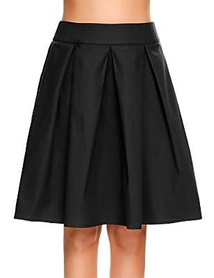 Zeagoo Women's Vintage High Waist A-line Pleated Midi Swing Skirts Knee Length
