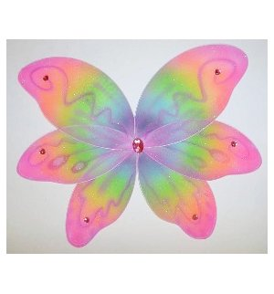 Fancy 6 Petal Rainbow Color Jeweled Play Fairy - Princess Wings Jeweled Fairy