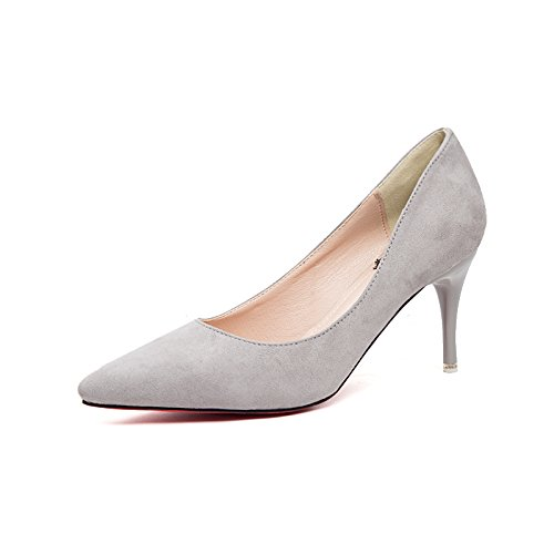 High Winter Shoes New With heels Grey Female Bridesmaid Shoes Single Work Autumn Jqdyl Heels Pointed High And Fine Shoes Spring SqzaxnCwd