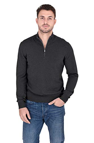 - Cashmeren Men's 100% Pure Cashmere Classic Knit Soft Half Zip Mock Neck Pullover Sweater (Charcoal, Medium)