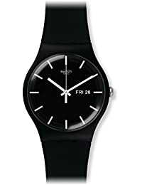 Swatch 'Mono' Quartz Plastic and Silicone Casual Watch, Color:Black (Model: SUOB720)