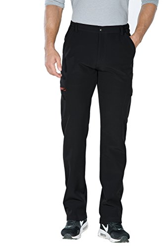 Nonwe Men's Winter Warm Windproof Mountain Fleece Hiking Sweat Pants Black-1 XL/32 Inseam