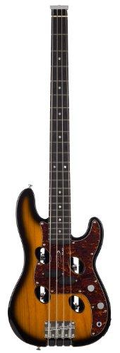Traveler Guitar TB-4P Electric Travel Bass with Gig Bag (Sunburst) 6 String Active Bass Guitar