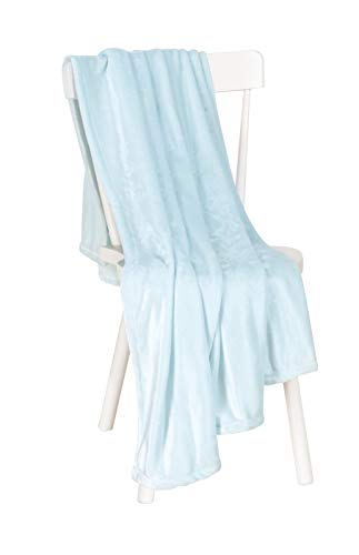(Chiara Rose Super Soft Throw Blanket Flannel Fleece Cozy Plush Velvet Faux Fur Fluffy Lightweight Solid Blue)