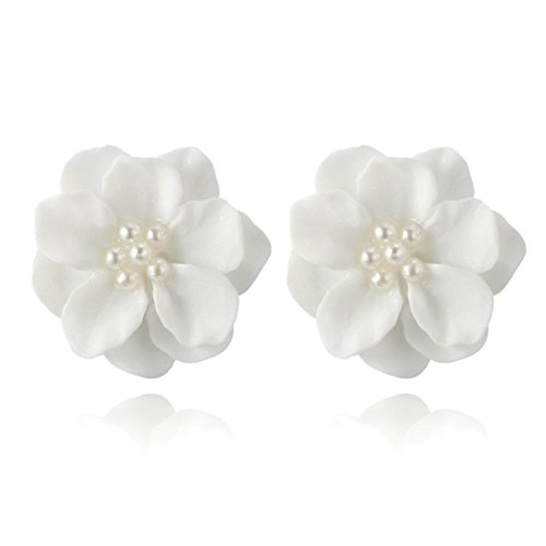 Ring 14k Handcrafted (Clearance! Fashion Design Womens White Flower Shaped Ear Studs Earring Lovely Ear Jewellery Hypoallergenic Pearl Earrings (White))