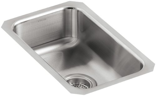 - KOHLER K-3333-NA Undertone Small Squared Undercounter Kitchen Sink, Stainless Steel