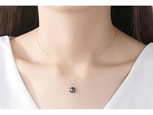 (Fashion Jewelry@ 18K Yellow Gold Crown Featured 9-10mm Tahitian Black Pearl Pendant Necklace Quality Round Pearl Contains Gold Chains Gift for Women Wife Girls, YellowGold)