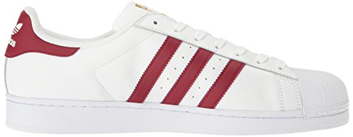 adidas Originals Herren Superstar Foundation Fashion Sneakers Weiß / Burgund / Gold Metallic