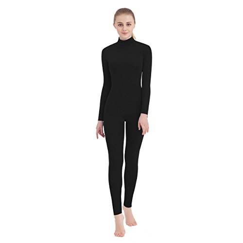 SUPRNOWA Unisex Turtleneck Footless Lycra Spandex Long Sleeve Unitard (Small, Black)