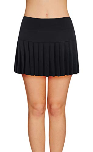Womens Tennis Pleated Skorts Golf Workout High Waist Biult in Skirts Sports Active Wear with Pockets ()