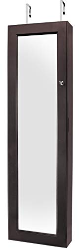 - Greenco Over The Door Jewelry Organizer Armoire with Large Mirror and Led Light, Lockable- Espresso