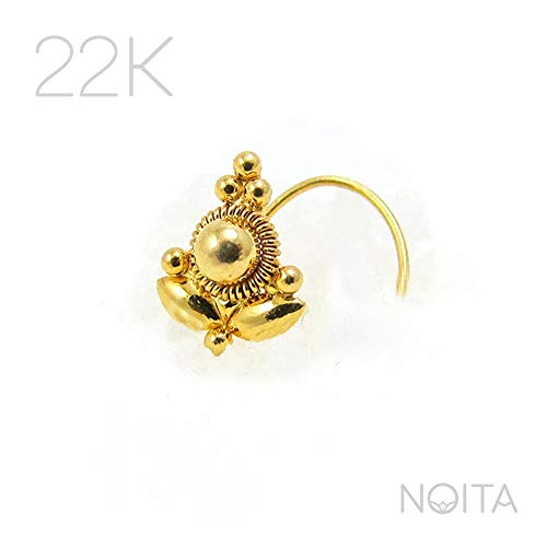 Indian Style Nose Stud, 22K Gold Unique Nose Ring, 20g, Fits Tragus Piercing, Helix, Cartilage Earring, Handmade Body Jewelry ()